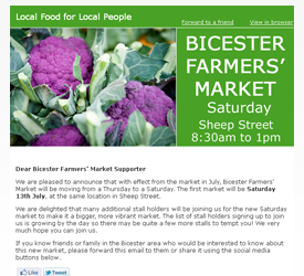 Thames Valley Farmers' Market Email Reminders